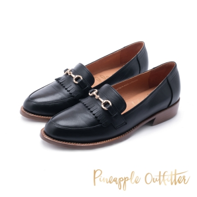 Pineapple Outfitter-MAAIKE 復古學院馬銜釦真皮跟鞋-黑色