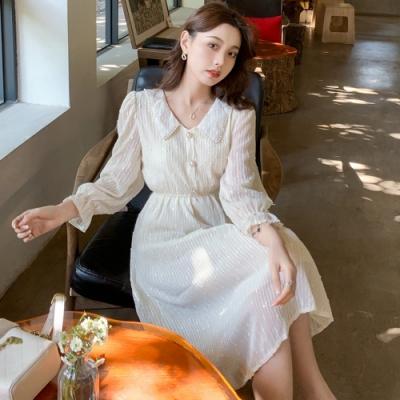 唯美浪漫領邊小珍珠鬆緊腰洋裝S-XL-Dorri