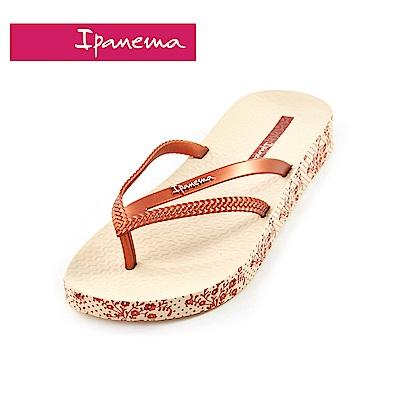 IPANEMA  BOSSA系列  森巴舞曲 側邊印花人字拖鞋-米色