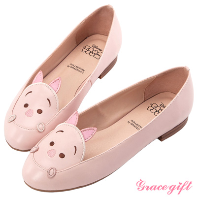 Disney collection by Grace gift-拼接電繡娃娃平底鞋 粉