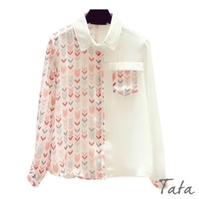 雪紡拼接箭頭條紋襯衫 TATA-(S~XL)