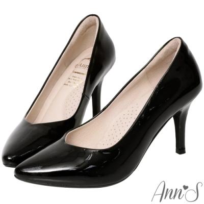 Ann'S舒適療癒系-V型美腿棉羊皮尖頭跟鞋-羊漆黑
