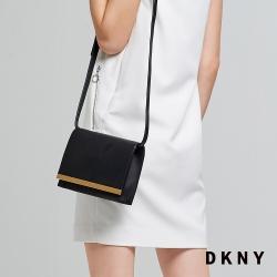 DKNY 簡約牛皮翻蓋斜背包 黑