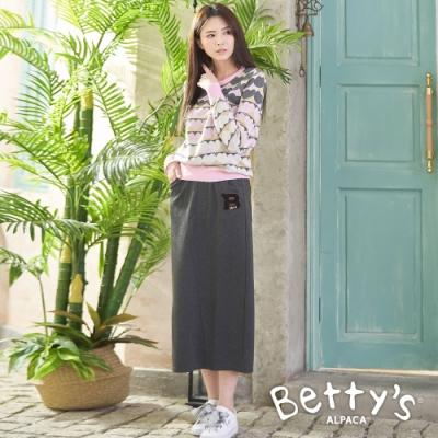 betty's貝蒂思 後開衩休閒長裙(深灰)
