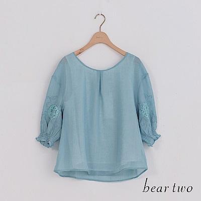 beartwo 古典繡花五分袖造型上衣(二色)