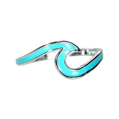 Pura Vida 美國手工 ENAMEL WAVE藍色琺瑯波浪造型 銀色戒指