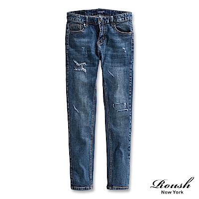 Roush 刷破抽鬚窄管牛仔褲