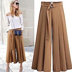 MOCO素色鬆緊腰釦環綁帶腰打摺寬百摺闊腿寬褲裙L~3L
