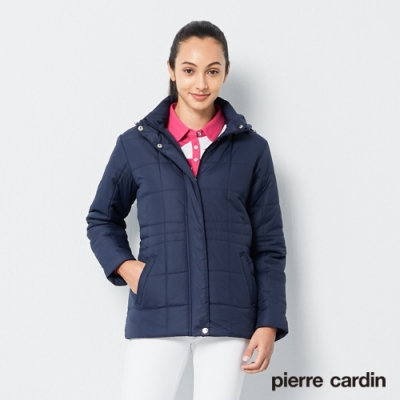 Pierre Cardin皮爾卡登 女裝 雅緻車格鋪棉休閒外套-深藍色(6195790-38)