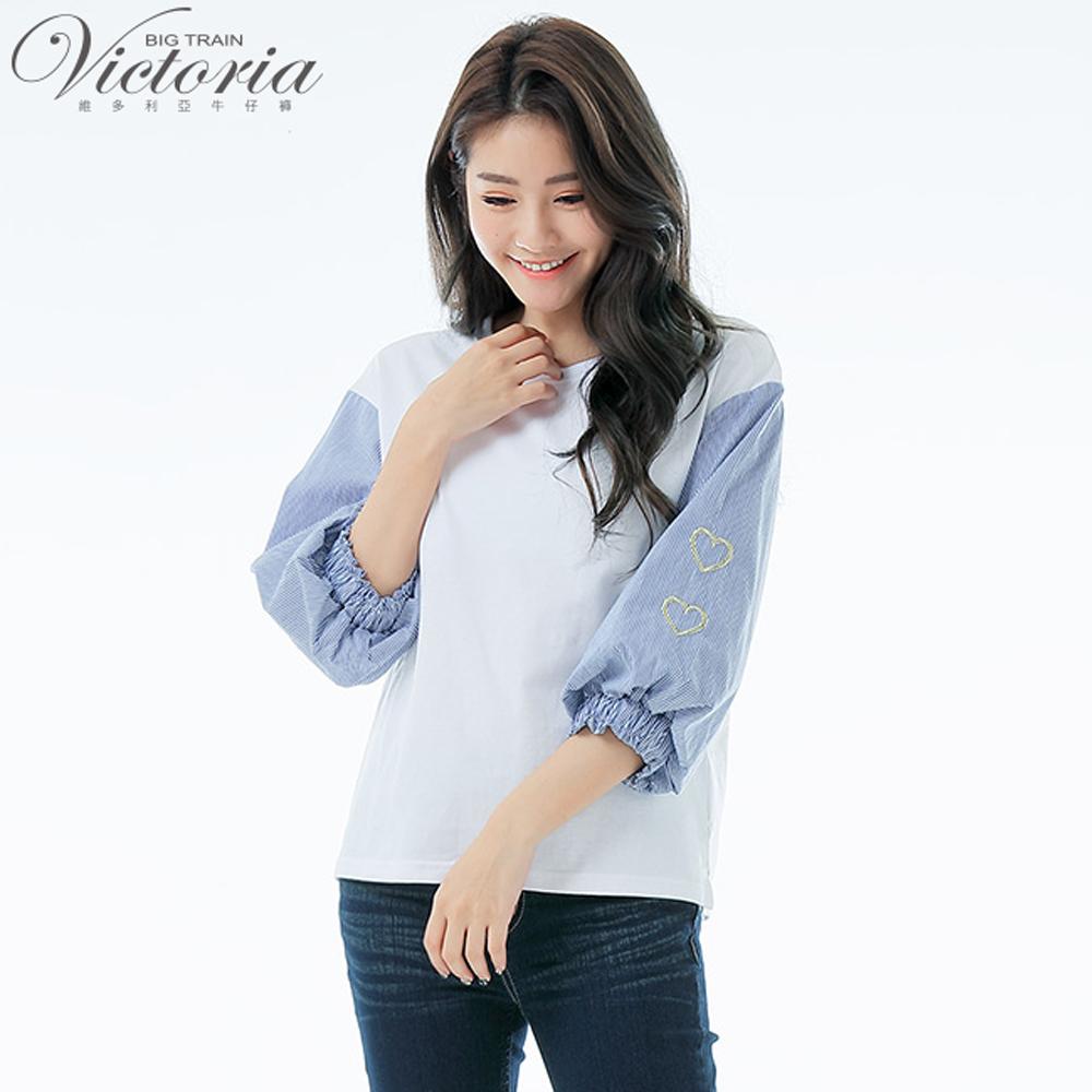 Victoria異材質拼接愛心繡七分花苞袖T-女-白色