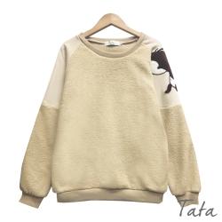 袖卡通圖案類羊羔毛拼接棉質上衣  TATA-(S~L)