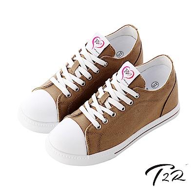【T2R】增高7cm經典款休閒氣墊帆布鞋-咖啡