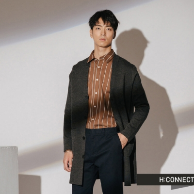 H:CONNECT 韓國品牌 男裝-雙口袋排扣針織外套-灰
