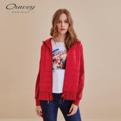 OUWEY歐薇 休閒感異材質連帽鋪棉外套(紅/藍)