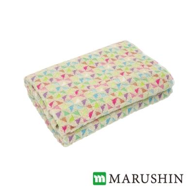 日本丸真 日本製今治認證經典和風設計浴巾 繽紛三角 米色