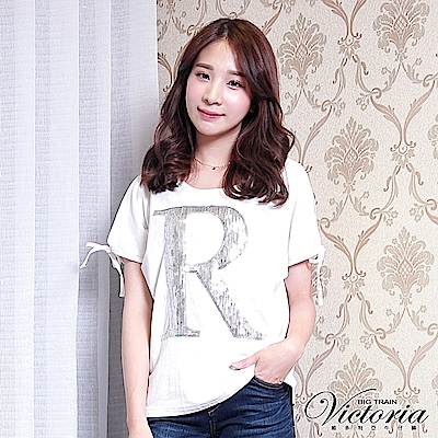 Victoria 亮片繡開肩袖口綁帶短袖T-女-白色