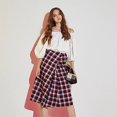 Hana+花木馬 英式格紋撞色印花棉製一片式打摺造型中長裙-紅(共2色)
