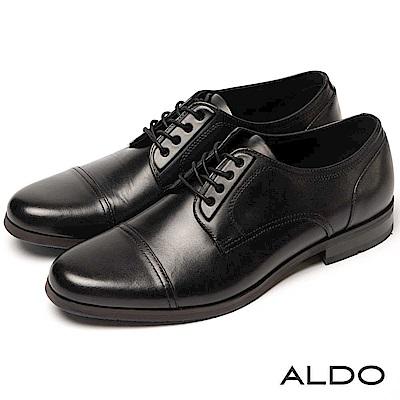 ALDO 原色真皮鞋面雙車線綁帶式粗跟男皮鞋~尊爵黑色