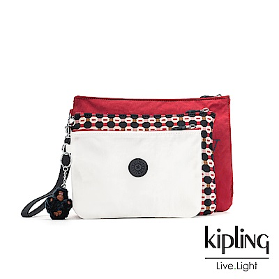 Kipling 節慶感紅黑幾何圖騰多袋實用配件包-IAKA L WRISTLET