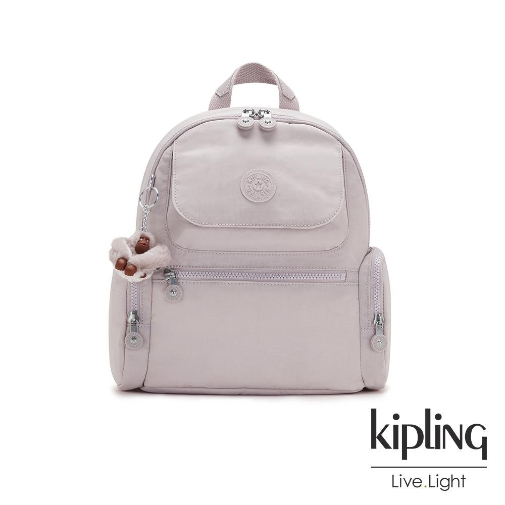 Kipling 優雅高級灰多口袋拉鍊後背包-MATTA