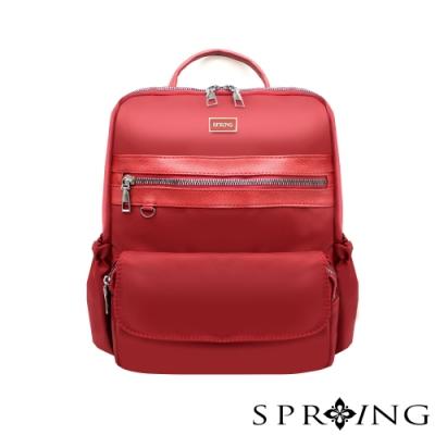 SPRING-未來系列尼龍簡約後背包 A4可-寶石紅