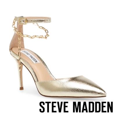 STEVE MADDEN-LIONESS 性感美背鍊條一字尖頭高跟涼鞋-金色