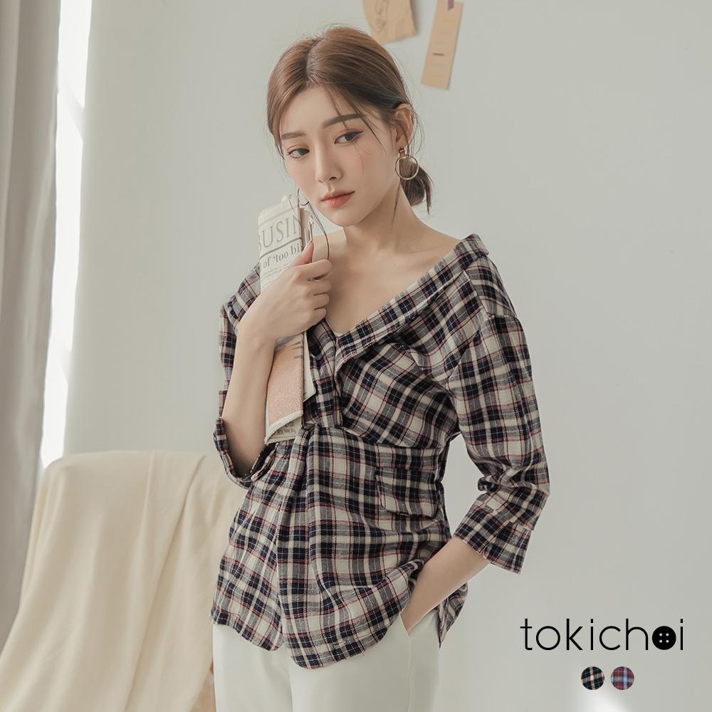 東京著衣 甜美率性大V領縮腰格紋襯衫-S.M.L(共兩色)