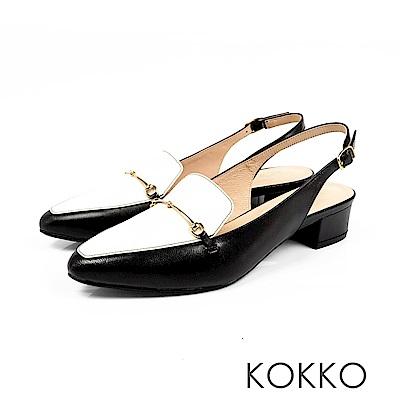 KOKKO - 迷濛眼神真皮後拉帶尖頭粗跟鞋-復古黑白