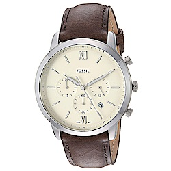 FOSSIL 洞察趨勢三眼時尚皮革腕錶(FS5380)-米白x44mm