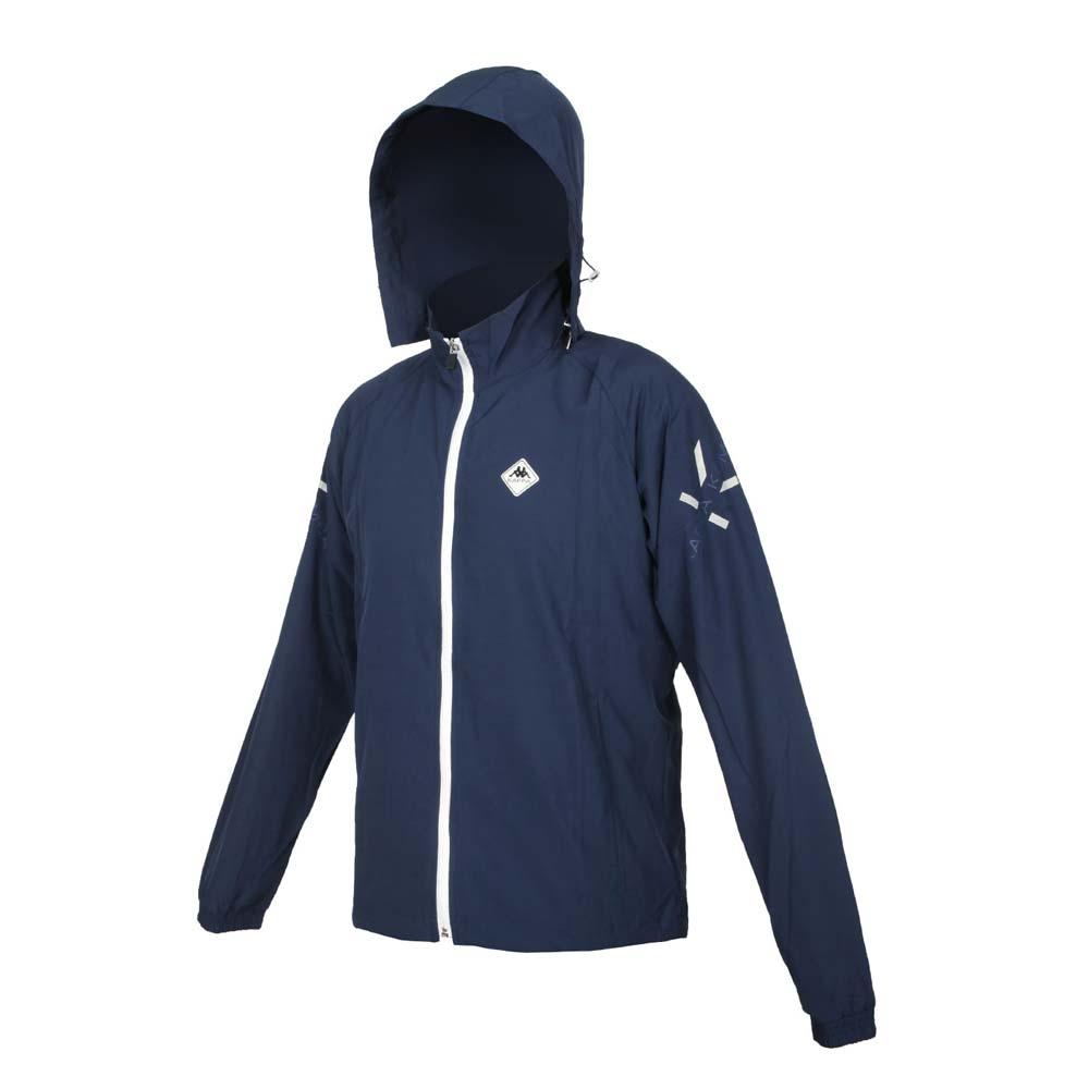 KAPPA 男K4T單層風衣-防風 連帽外套 慢跑 路跑 上衣 運動 37168LW-B29 丈青銀