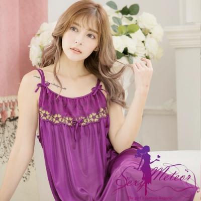 睡衣 大尺碼 蕾絲繡花冰絲細肩帶連身裙睡衣(優雅深紫) SexyMeteor