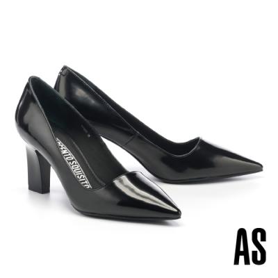 高跟鞋 AS 極簡優雅純色牛皮尖頭高跟鞋-黑