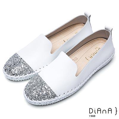 DIANA 漫步雲端厚切焦糖美人-耀眼亮蔥異材質拼接休閒鞋 –白