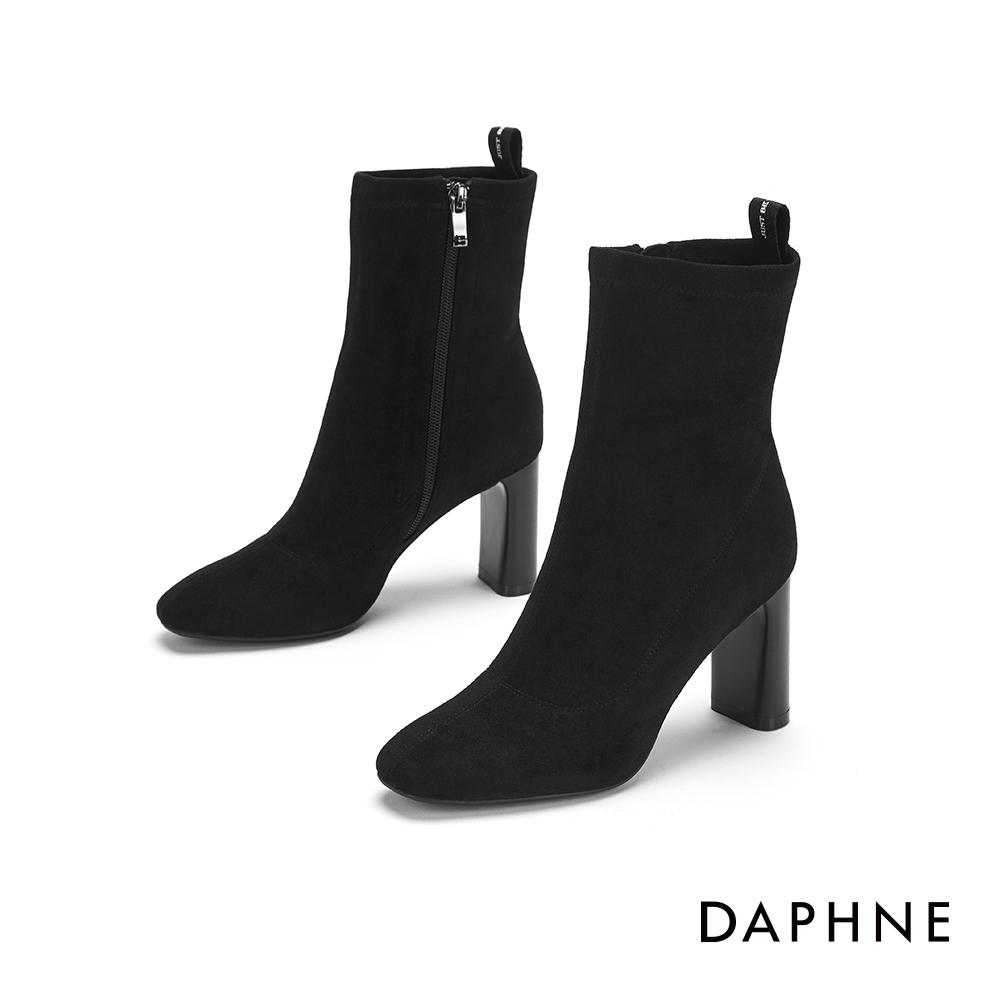 達芙妮DAPHNE  中筒靴-方頭粗跟後提帶中筒靴-黑