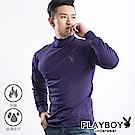 PLAYBOY 保暖衣 精梳棉保暖棉毛半高領長袖衫-單件-深紫