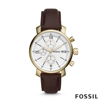 FOSSIL RHETT 造型三眼計時皮革男錶-深褐色 42MM BQ1009