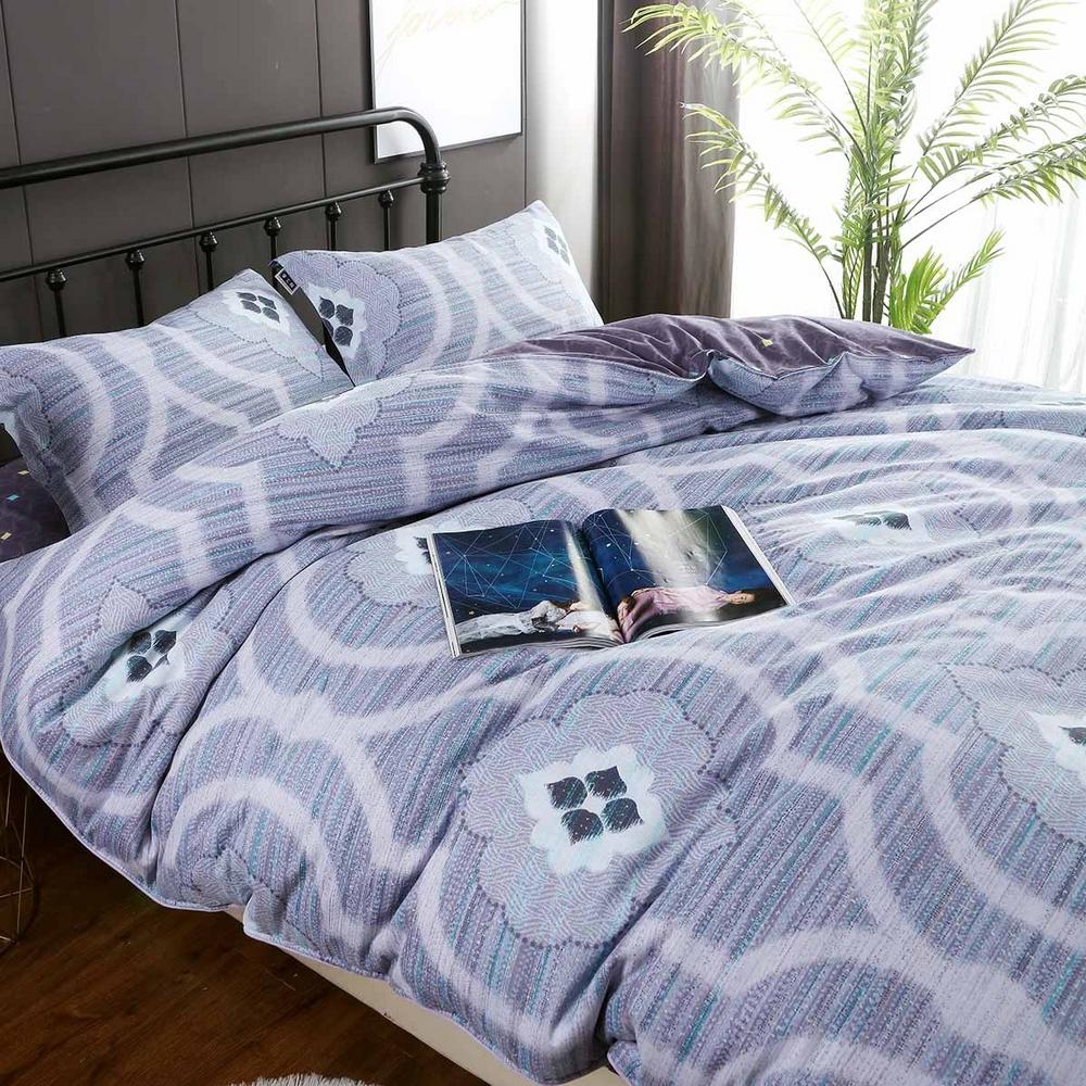 夢工場 對映甜蜜60支紗長絨棉床包兩用被組-加大