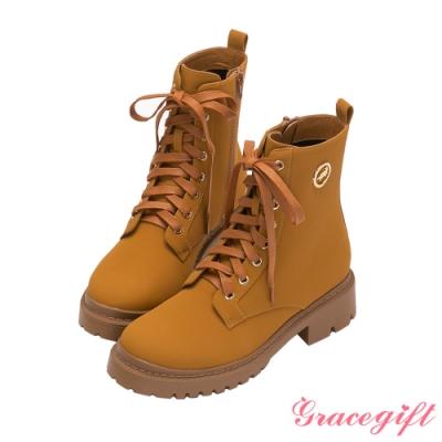 Grace gift-哈利波特赫夫帕夫學院真皮馬汀靴 黃
