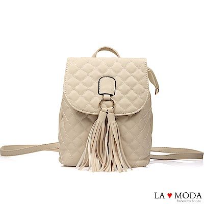 La Moda 熱銷單品小香風經典菱格紋2WAY大容量流蘇肩背後背包(米白)