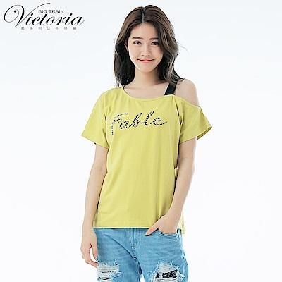 Victoria 不對稱領貼片文字短袖T-女-芥黃
