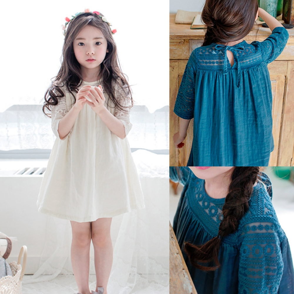 小衣衫童裝  夏季女童蕾絲勾花五分袖拼接連身裙洋裝1070359