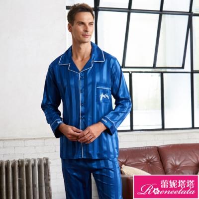 睡衣 彈性珍珠絲質 男性長袖褲裝睡衣(R88215-10經典條紋 藍) 蕾妮塔塔
