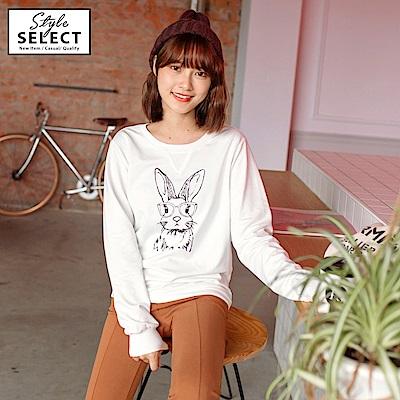 可愛兔子印花高棉衛衣上衣