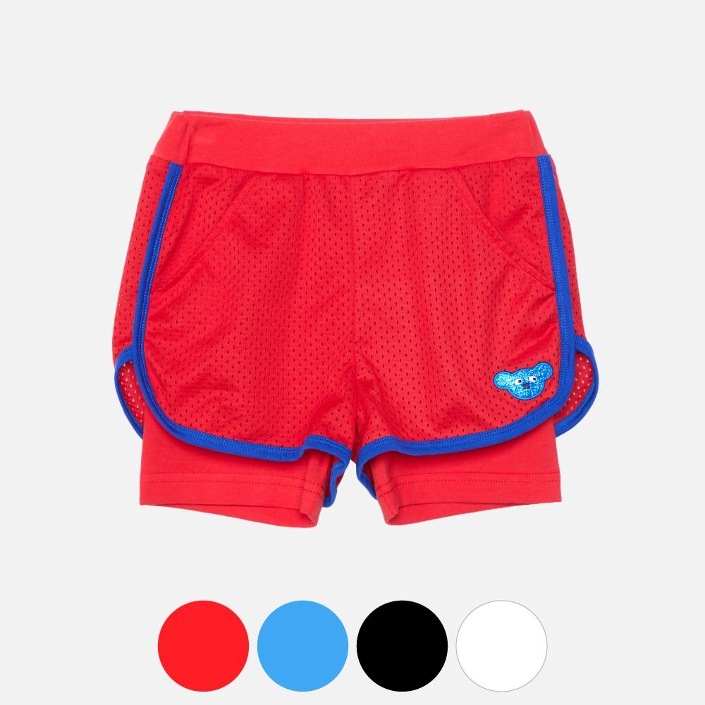 WHY AND 1/2 假兩件運動透氣網短褲 多色可選 11Y ~ 14Y以上 (紅色)