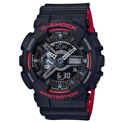 G-SHOCK重機裝置紅黑騎士精神休閒運動錶GA-110HR-1紅黑雙色51.2mm