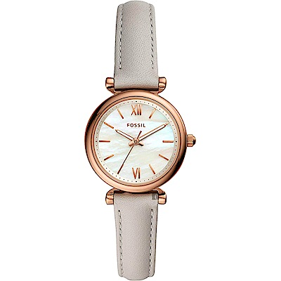 FOSSIL 愛在羅馬時尚女錶(ES4529)-珍珠貝x米色錶帶/28mm