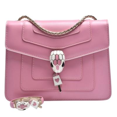 BVLGARI 情人節限定組合小牛皮琺瑯蛇頭釦環金鍊肩背包(粉紅色)