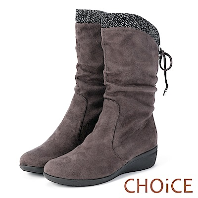 CHOiCE 冬日耀眼 彈力絨布燙鑽楔型中筒靴-灰色
