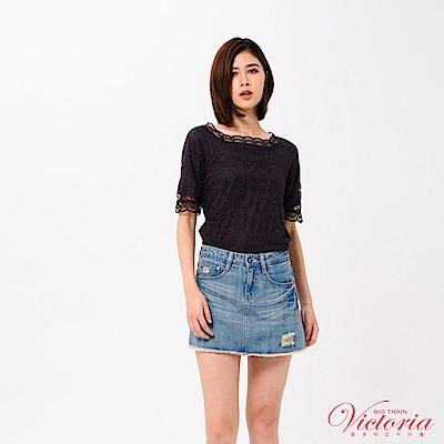Victoria 前後可穿)全蕾絲短袖T-女-霧紫