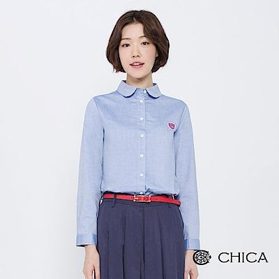 CHICA 氣質雪莉甜心貓傘襬襯衫(2色)